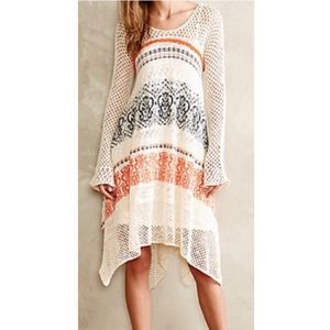 Anthropologie Sleeping on Snow LS Crochet Dress